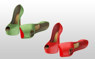 Mesh Heels for Slink High feet - Green & Red